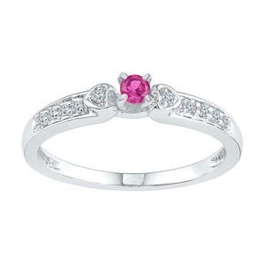 Sterling Silver Womens Round Lab-Created Pink Sapphire Solitaire Ring 1/4 Cttw
