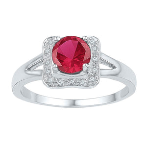 Sterling Silver Womens Round Lab-Created Ruby Solitaire Diamond Ring 1-1/12 Cttw