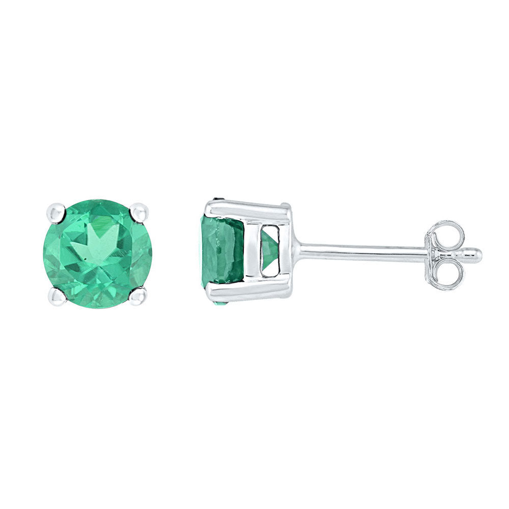 Sterling Silver Womens Round Lab-Created Emerald Solitaire Stud Earrings 2 Cttw