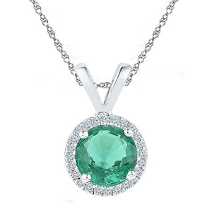 Sterling Silver Womens Round Lab-Created Emerald Solitaire Pendant 7/8 Cttw