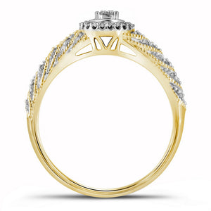 10kt Yellow Gold Round Diamond Bridal Set Wedding Ring Band 1/4 Ctw