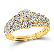 Load image into Gallery viewer, 10kt Yellow Gold Round Diamond Bridal Set Wedding Ring Band 1/4 Ctw