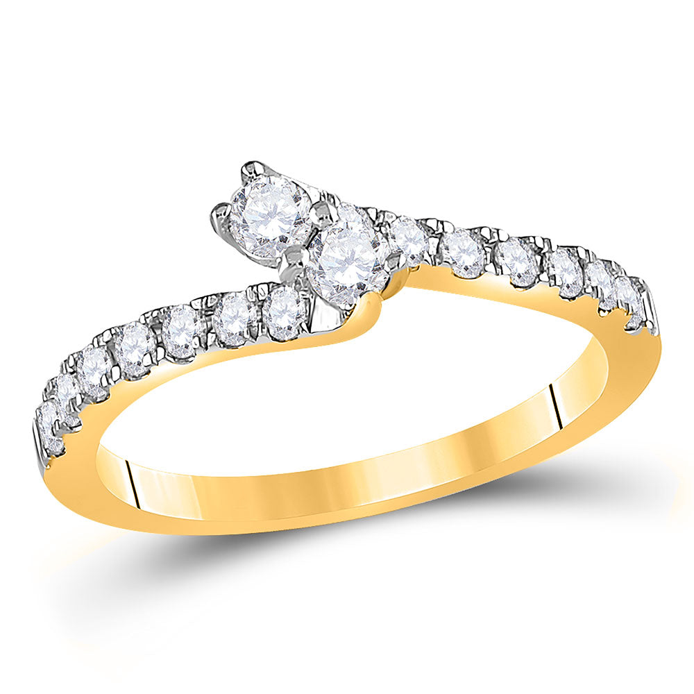 14kt Yellow Gold Round Diamond 2-stone Engagement Ring 1/2 Ctw Certified