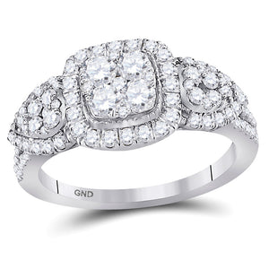 10k White Gold Womens Round Diamond Square Cluster Fashion Engagement Ring 1-1/4 Cttw