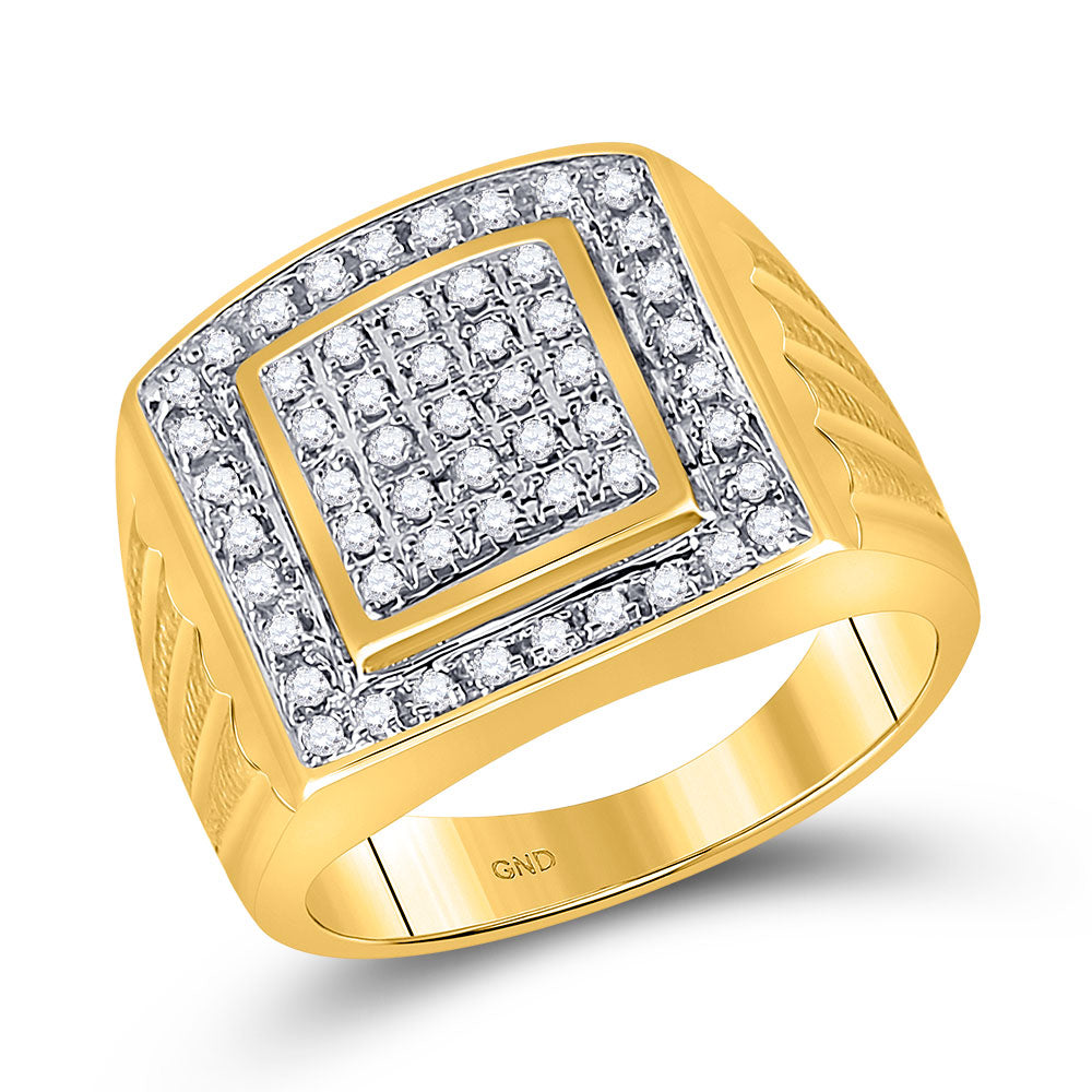 10kt Yellow Gold Mens Ring Round Diamond Square Cluster 1/2 Cttw