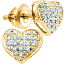 Load image into Gallery viewer, 10kt Yellow Gold Womens Round Diamond Heart Cluster Earrings 1/10 Cttw