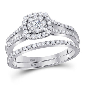 10kt White Gold Round Diamond Bridal Wedding Engagement Ring Band Set 1/2 Ctw
