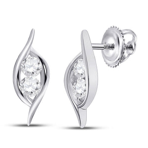 14kt White Gold Womens Round Diamond Bypass 2-stone Earrings 1/4 Cttw