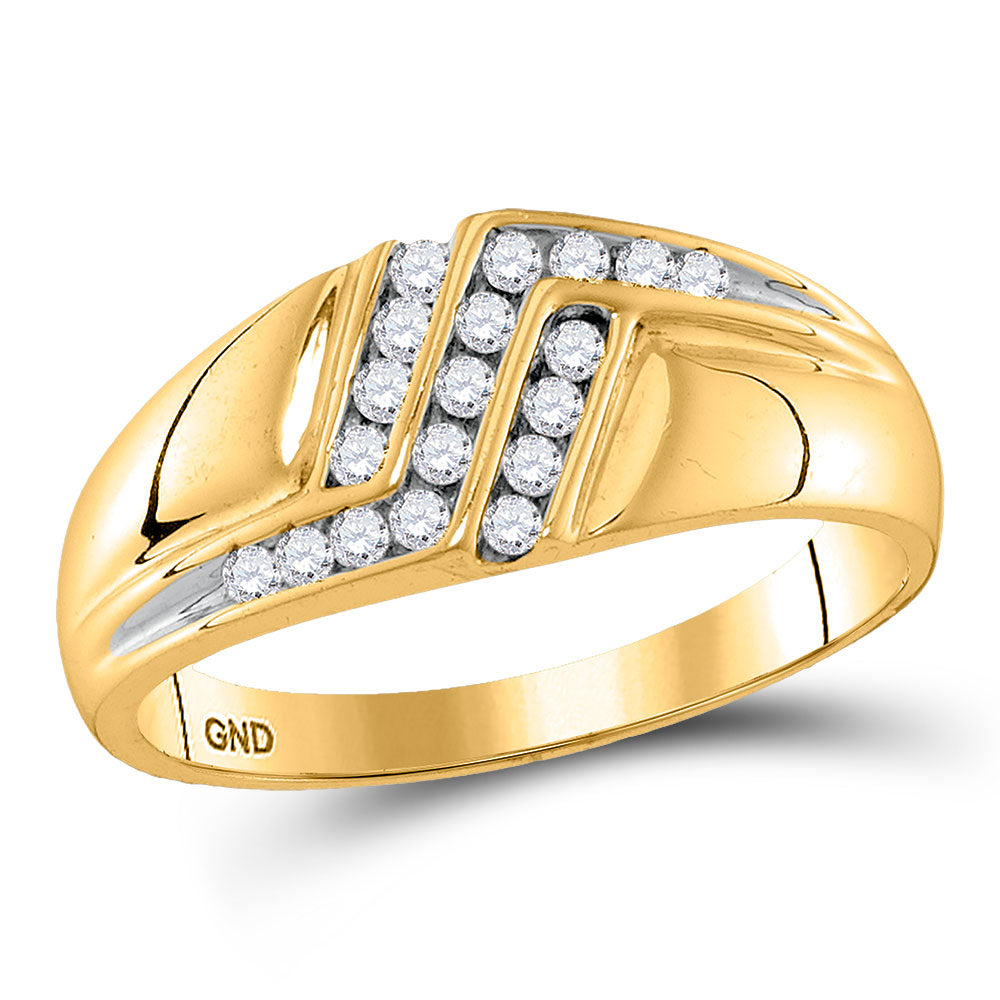 10kt Yellow Gold Mens Ring Round Diamond Triple Row Polished Band 1/4 Cttw