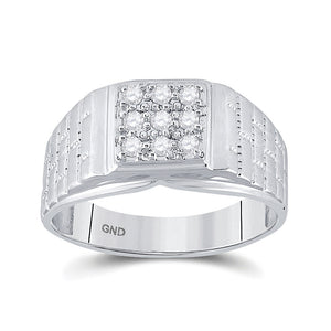 10k White Gold Mens Ring Round Diamond Square Cluster Brick 1/4 Cttw