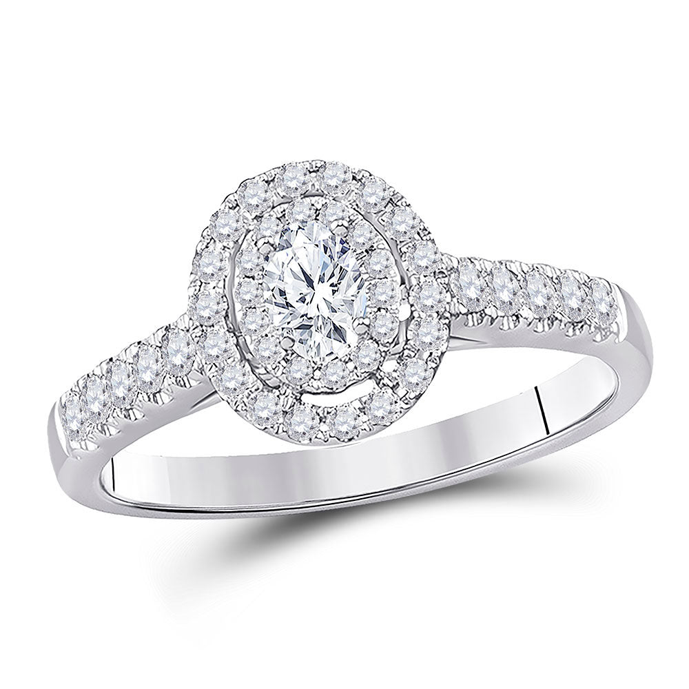 14kt White Gold Oval Diamond Halo Wedding Engagement Ring 1/2 Cttw