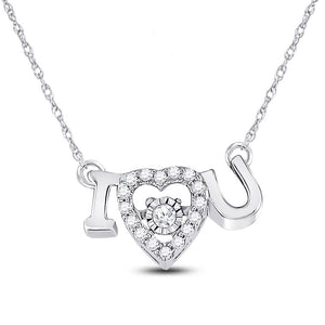 14kt White Gold Womens Round Diamond I Love U Heart Pendant Necklace 1/10 Cttw