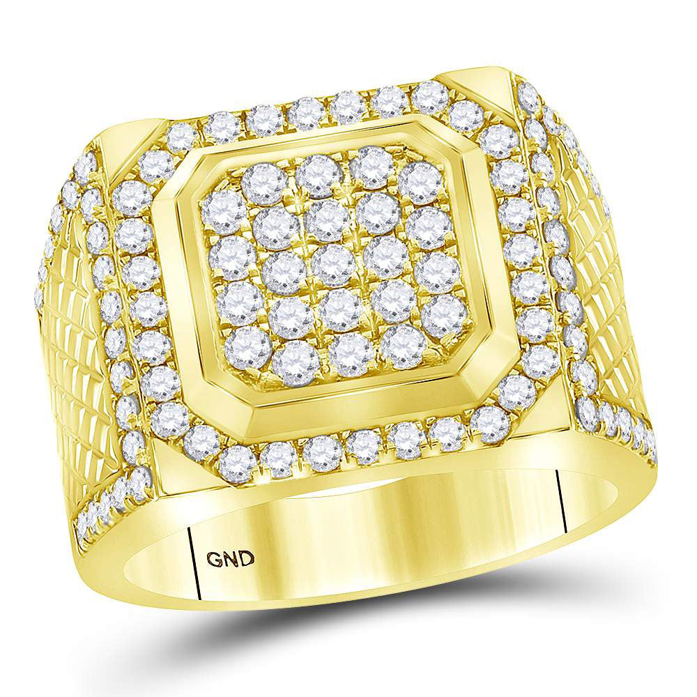 14kt Yellow Gold Mens Ring Round Diamond Square Cluster 2 Cttw
