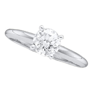 14kt White Gold Womens Round Diamond Solitaire Engagement Ring 1/5 Cttw
