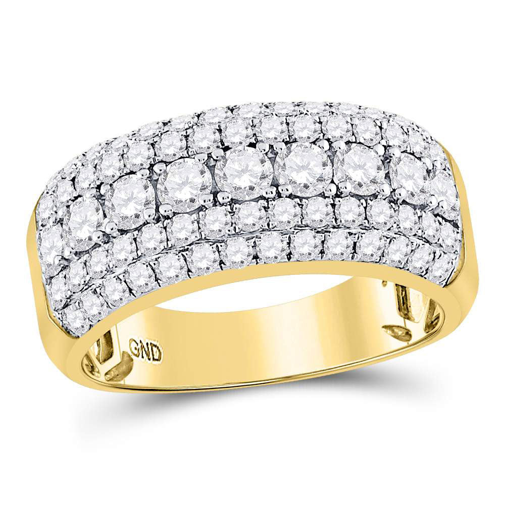 14kt Yellow Gold Mens Ring Round Diamond Band 2 Cttw