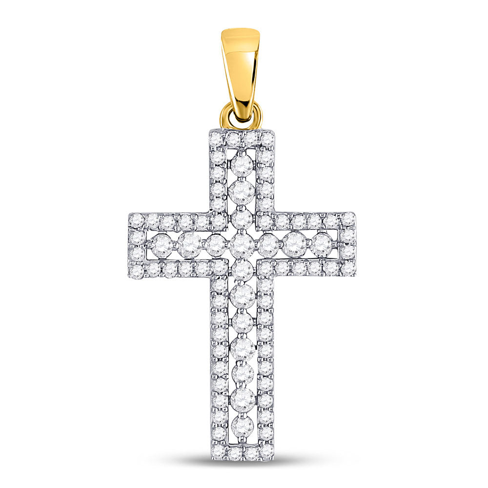 14kt Yellow Gold Womens Round Diamond Cross Pendant 1/2 Cttw