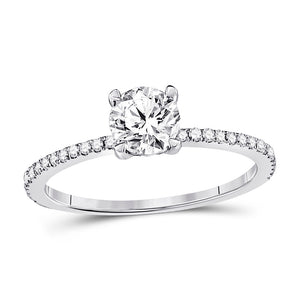 14kt White Gold Round Diamond Solitaire Engagement Ring 1 Ctw (Certified)