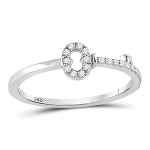 10kt White Gold Womens Round Diamond Key Stackable Band Promise Ring 1/8 Cttw