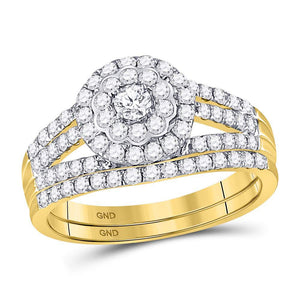 14kt Yellow Gold Round Diamond Bridal Wedding Ring Band Set 1 Ctw