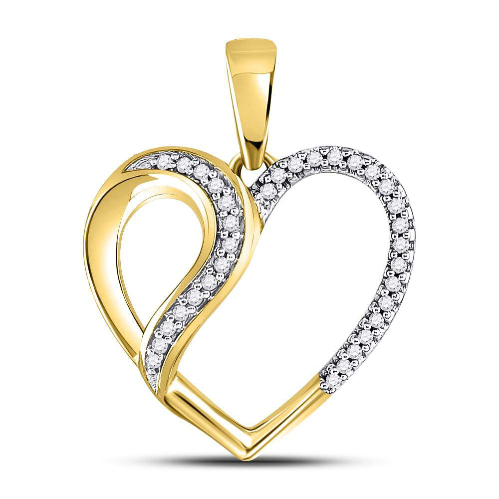 10kt Yellow Gold Womens Round Diamond Heart Fashion Pendant 1/10 Cttw