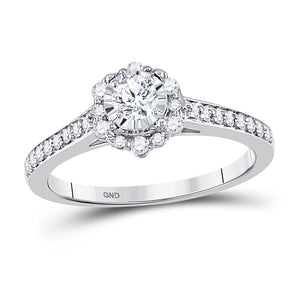 14kt White Gold Round Diamond Solitaire Wedding Engagement Ring 1/2 Ctw