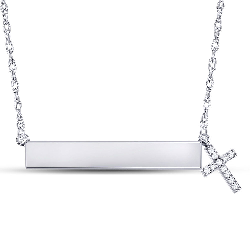 10kt White Gold Womens Round Diamond Bar Cross Pendant Necklace 1/6 Cttw