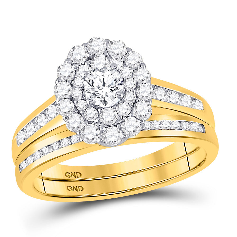 14kt Yellow Gold Round Diamond Bridal Ring Band Set 1 Ctw (Certified)