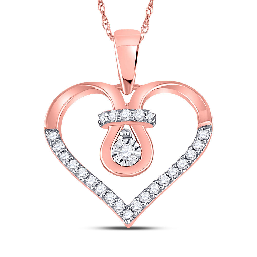 10kt Rose Gold Womens Round Diamond Knot Heart Pendant 1/8 Cttw