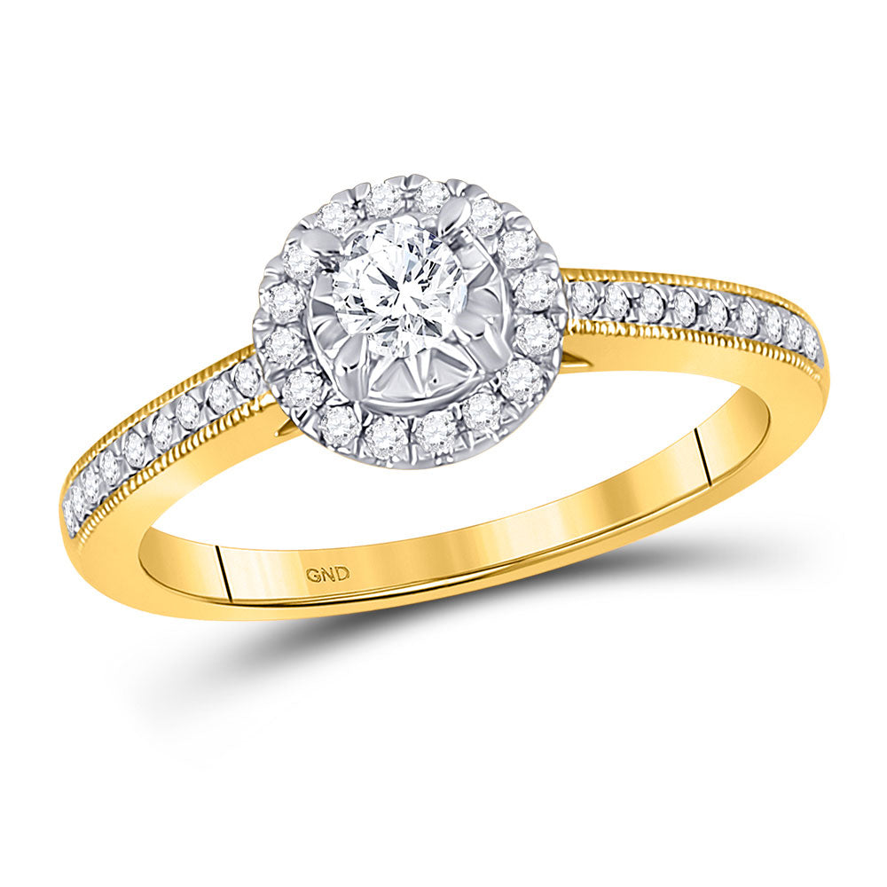 14k Yellow Gold Round Diamond Wedding Engagement Ring 3/8 Ctw (Certified)