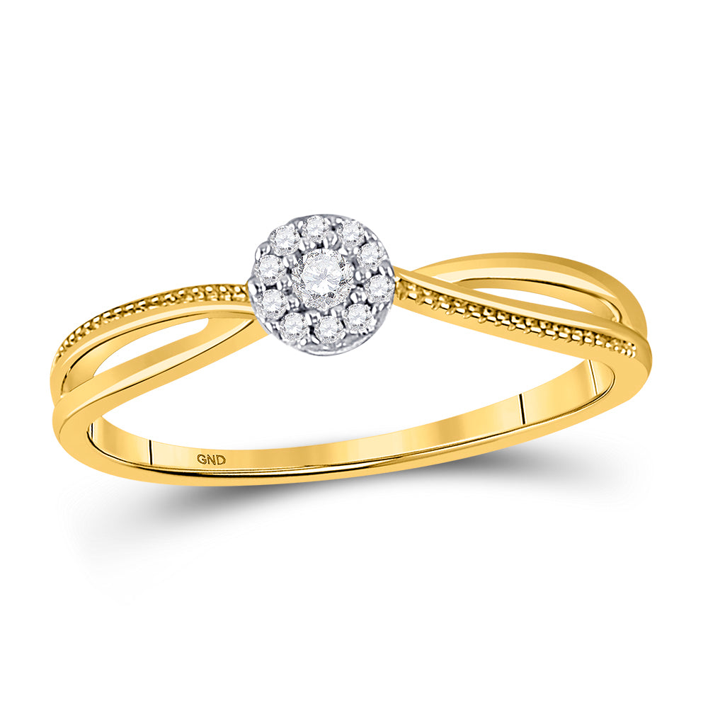 10kt Yellow Gold Womens Round Diamond Solitaire Promise Ring 1/10 Cttw