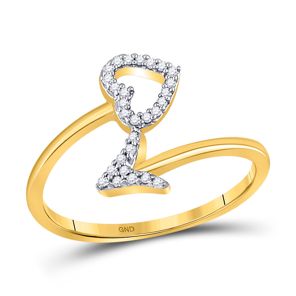 10kt Yellow Gold Womens Round Diamond Heart Arrow Band Promise Ring 1/10 Cttw