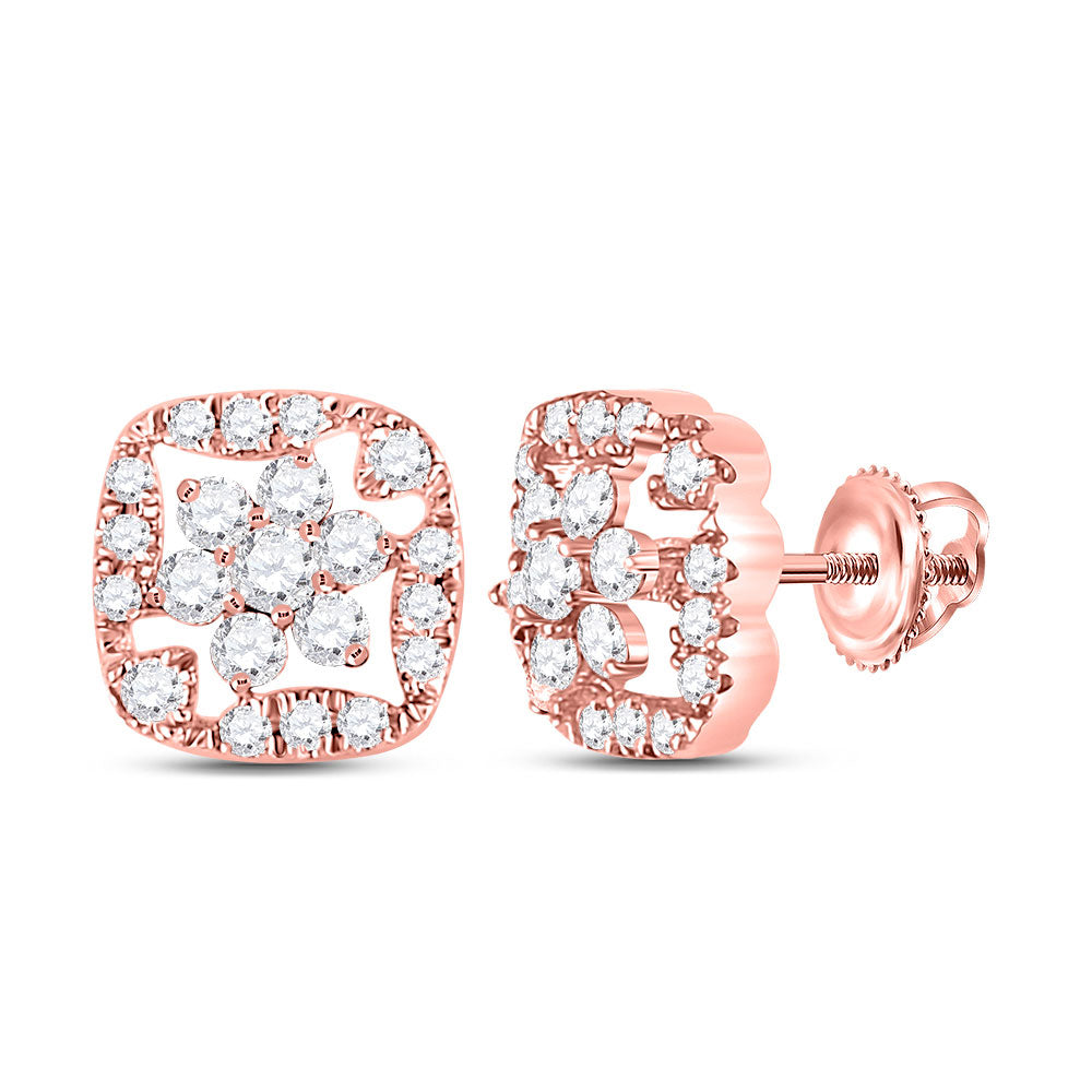 14kt Rose Gold Womens Round Diamond Square Floral Cluster Earrings 3/8 Cttw