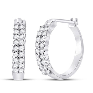 10k White Gold Womens Round Pave-set Diamond Huggie Hoop Earrings 1/4 Cttw