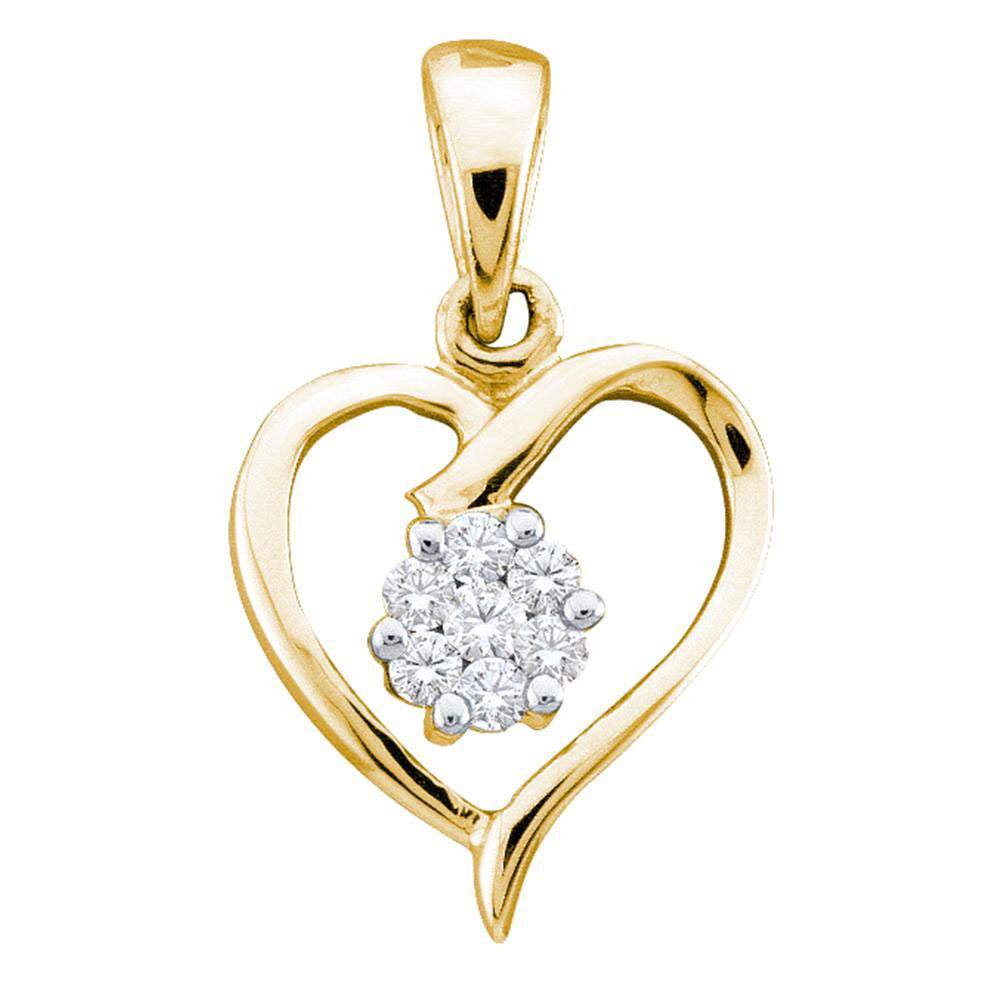 10k Yellow Gold Womens Round Diamond Flower Cluster Heart Pendant 1/12 Cttw