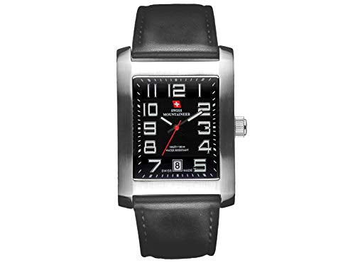 Swiss Mountaineer Mens Black Genuine Leather Strap Watch SM1330