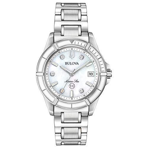 Bulova Marine Star Women's White Mother-of-Pearl Dial Watch 96P201