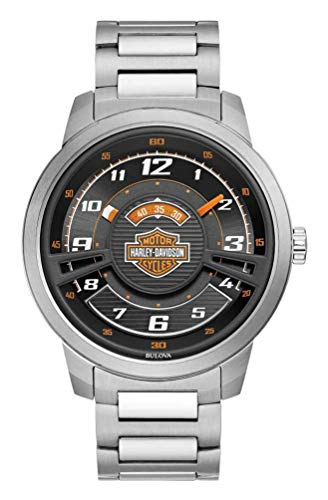 Harley-Davidson Mens Bar & Shield Black Multi-Layer Stainless Steel Watch 76A162