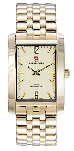 Swiss Mountaineer Mens Gold Stainless Steel Watch SML8062