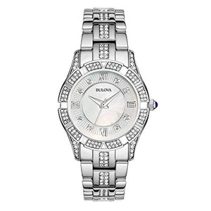 Bulova Women's Swarovski Crystal Bracelet Mother of Pearl Dial Watch 96L116