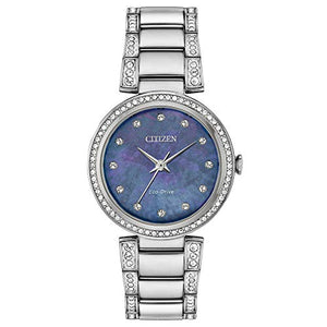 Ladies' Citizen Eco-Drive Silhouette Crystal Blue Mother-of-Pearl Dial Watch EM0840-59N