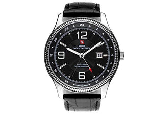 Swiss Mountaineer Mens Black Genuine Leather Strap Watch SM1421