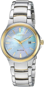 Citizen Women's 'Eco-Drive' Quartz Stainless Steel Fashion Watch, Color:Two Tone (Model: EW2524-55N)