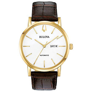 Bulova Mens American Clipper Gold Case White Dial Leather Watch 97C107