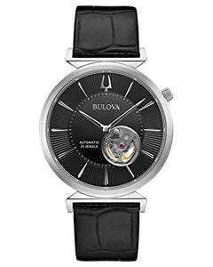 Bulova Men's Silver Tone Black Strap Regatta Automatic Watch 96A234