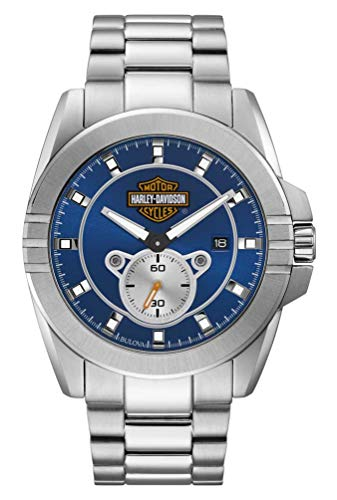 Bulova Harley-Davidson Men's Blue Dial Stainless Steel Watch 76B183
