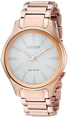 Citizen Women's Eco-Drive Japanese-Quartz Watch with Stainless-Steel Strap, Pink (Model: EM0593-56A