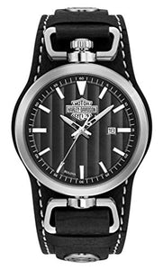 Harley-Davidson Men's Rotating Case Cuff Watch, Black Leather Strap 76B185