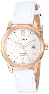 Citizen Women's Stainless Steel Japanese-Quartz Leather Calfskin Strap, White Casual Watch (Model: EU6073-02A