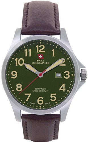 Swiss Mountaineer Mens Watch Brown Leather Band Large Green Easy Read Dial Date Display SM8032