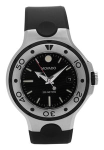 Movado Midsize 2600004 Series 800 Black Thermoresin Strap Black Dial Watch